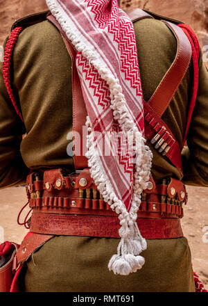Jordanian Army Soldier in front of The Treasury, uniform detail, Petra, Ma'an Governorate, Jordan (MR) - Stock Photo