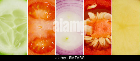Juicy collage of cucumber, tomato, onion, pepper and potatoes - Stock Photo