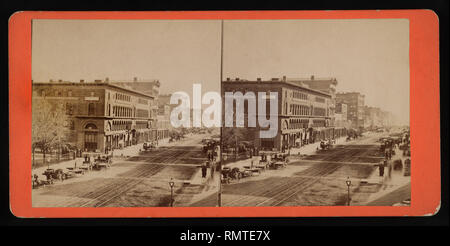 Main Street South from Court, Buffalo, New York, USA, Stereo Card, 1860's - Stock Photo