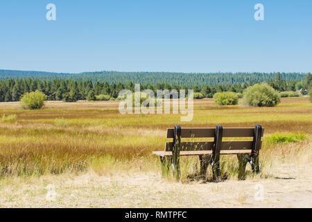 Mountain meadow with empty bench seat, blue mountains, golden grass - Stock Photo