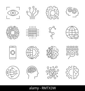 Artificial Intelligence. Vector icon set for artificial intelligence AI concept. Various symbols for the topic using flat design. Editable stroke. - Stock Photo