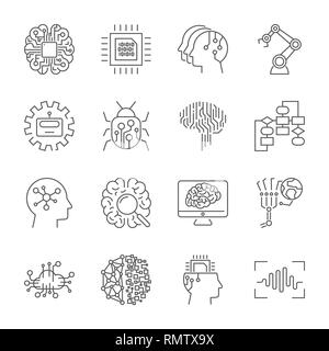 Set of machine learning line icons. Simple pictograms pack. Vector illustration on a white background. Modern outline style icons collection. Editable - Stock Photo