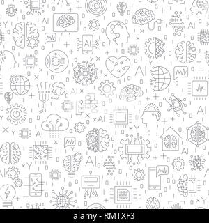 Machine learning and artificial intelligence concept. Robot and human graphic, gears, chip, processor, brain and other. Seamless Pattern - Stock Photo