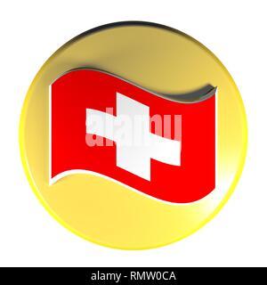 Yellow circle push button swiss flag - 3D rendering illustration - Stock Photo