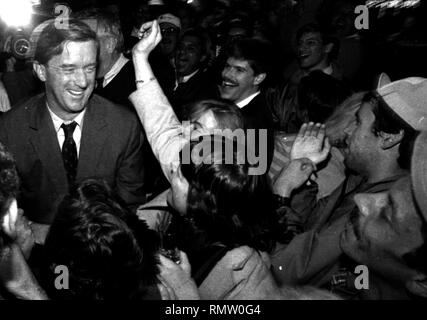 Former Massachusetts Governor Bill Weld announced he will run against President Donald Trump for the Republican Presidential nomination in 2020. In this photo Massachusetts Governor Bill Weld (R) during a campaign event at Foley's Tavern in Boston Ma USA photo by bill Belknap 1995 - Stock Photo