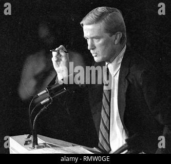 Former Massachusetts Governor Bill Weld announced he will run against President Donald Trump for the Republican Presidential nomination in 2020. Weld in this image was photographed during a Massachusetts gubernatorial debate in Boston Ma USA photo by Bill Belknap 1995 - Stock Photo