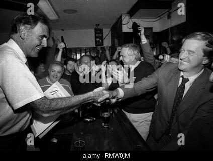 Former Massachusetts Governor Bill Weld announced he will run against President Donald Trump for the Republican Presidential nomination in 2020. In this photo Boston Mayor Ray Flynn with Massachusetts  Governor Bill Weld (R) during a campaign event at Foley's Tavern in Boston Ma USA  photo by bill Belknap 1995 - Stock Photo