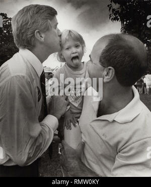 """Former Massachusetts Governor Bill Weld announced he will run against President Donald Trump for the Republican Presidential nomination in 2020. in this photo Former Massachusetts Governor William """"Bill """" Weld kisses a young girl during a campaign stop in the Boston area , Boston USA photo by bill belknap 1995 - Stock Photo"""