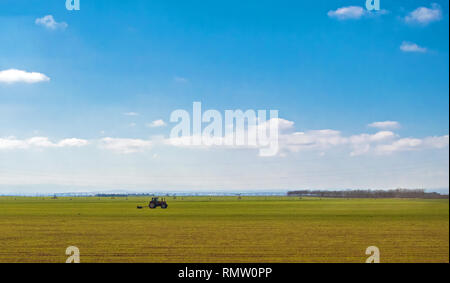tractor in green field over blue cloudy sky gather crops in summer or autumn - Stock Photo