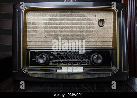 Very Old Radio, Music or news from cities all over the world - Stock Photo