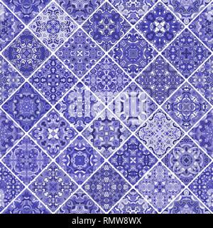 Mosaic abstract patterns of blue shades. Square scraps in oriental style. Vector illustration. Ideal for printing on fabric or paper. - Stock Photo