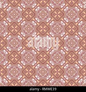 Abstract geometric background. Seamless vector pattern in rose and brown colors. Ethnic boho style. Mosaic ornament structure. Carpet fragment. - Stock Photo