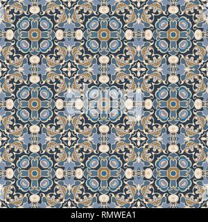 Abstract geometric background. Seamless vector pattern in blue and brown colors. Ethnic boho style. Mosaic ornament structure. Carpet fragment. - Stock Photo