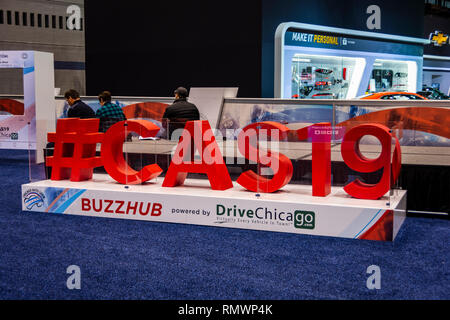 Chicago, IL, USA - February 7, 2019: Shot of the logo of the official 2019 Chicago Auto Show hashtag ; #CAS19. - Stock Photo