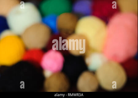 Colored balls of yarn. View from above. Rainbow colors. - Stock Photo