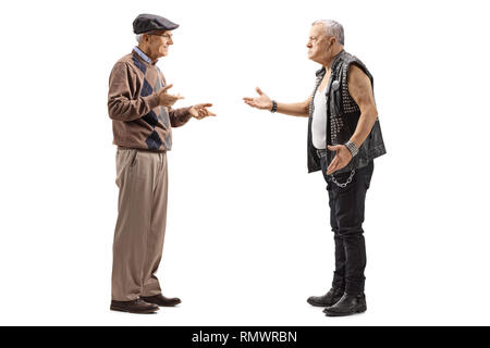 Full length profile shot of a senior man talking to a mature male punker isolated on white background - Stock Photo