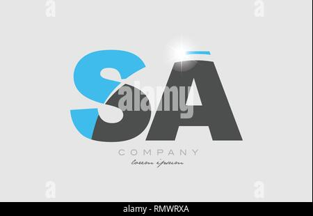 combination letter sa s a in grey blue color alphabet logo icon design suitable for a company or business - Stock Photo