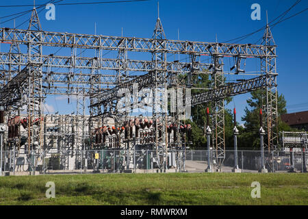 Hydro Electricity Substation in a residential neighbourhood - Stock Photo