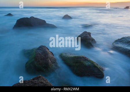 Long exposure landscape at Redhead Beach NSW Australia. This beach is one of Newcastle's best beaches and is a popular destination. - Stock Photo