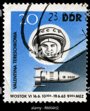 Postmarked stamp from the East Germany (DDR)  in the Space Flights series issued in 1963 - Stock Photo