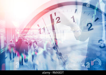 business time and working hours for financial and money office. - Stock Photo