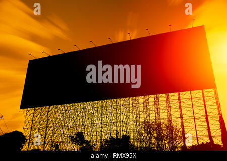 black silhouette large billboard advertising space for background - Stock Photo