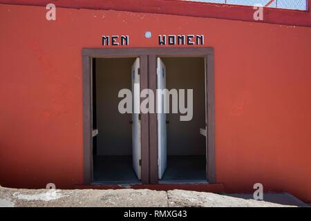 Restrooms in the town of Boquillas del Carmen in Mexico. - Stock Photo