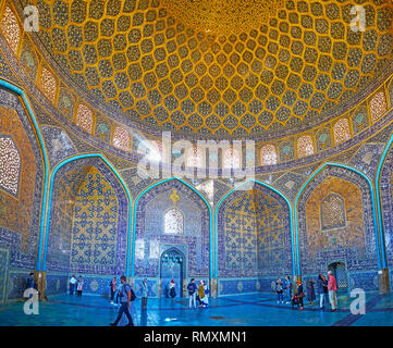 ISFAHAN, IRAN - OCTOBER 21, 2017: The ornate Sheikh Lotfollah mosque is the notable city landmark with fine colorful tiling, on October 21 in Isfahan. - Stock Photo