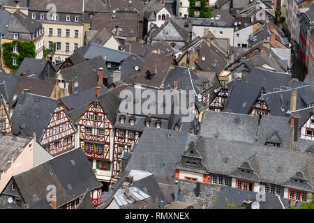 Bernkastel Kues aerial panoramic view. Bernkastel-Kues is a well-known winegrowing centre on the Moselle, Germany. - Image - Stock Photo