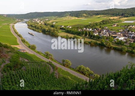 Bernkastel Kues and vineyards aerial panoramic view. Bernkastel-Kues is a well known winegrowing centre on the Moselle river, Germany. - Image - Stock Photo