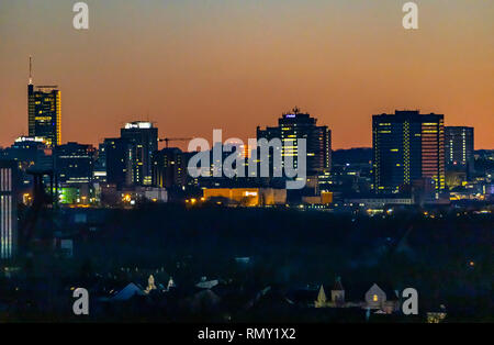 Skyline of Essen, Germany, f skyscrapers of the city center, with the town hall, right, RWE Tower, left, - Stock Photo