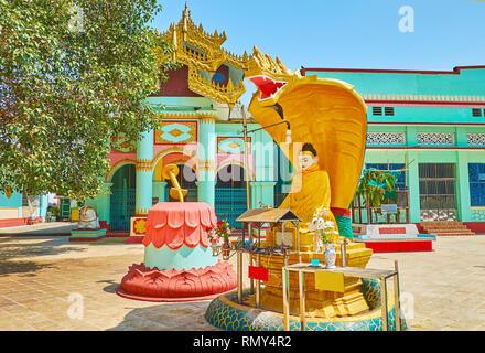 The scenic Naga-Raja Buddha image at the shrine in Shwemawdaw Paya, Bago, Myanmar. - Stock Photo