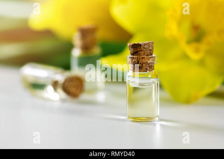 daffodil essential oil bottles with yellow blossom - Stock Photo