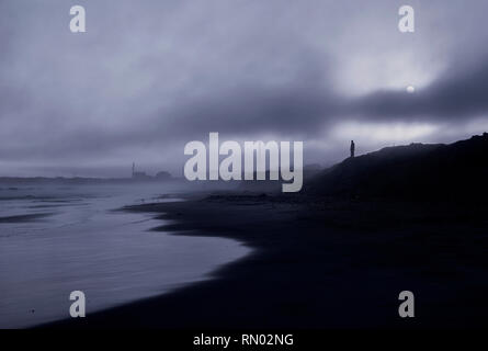 Misty beach in Accra, Ghana - Stock Photo