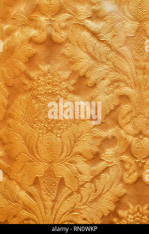 Seamless pattern. Golden textured curls. Brilliant lace, stylized flowers. Openwork weaving delicate, golden background, Paisley - Stock Photo