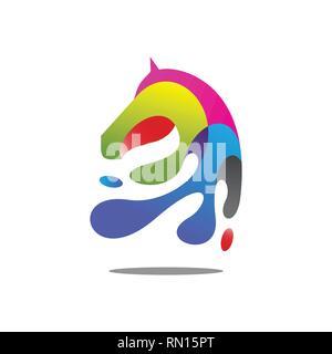 modern colorful horse head vector illustration. vector eps 10 - Stock Photo