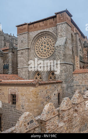 The Cathedral-fortress of Avila, Castile-Leon, Spain. Romanesque and Gothic styles. Its apse froms one of the turrets of the city walls. - Stock Photo