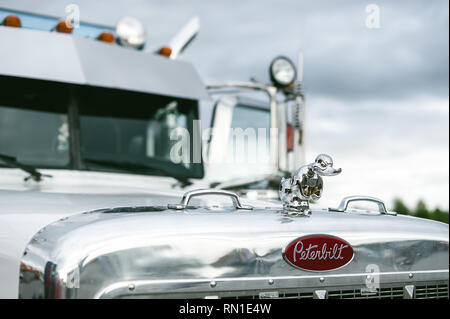 Russia, Novosibirsk - August 23, 2018: exhibition of vehicles, elements of the exterior of the parking lot - Stock Photo