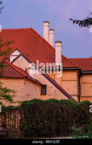 Ancient colorful townhous in Old town in Warsaw, Poland - Stock Photo