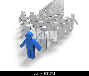 Blue 3D people in first position of arrow white background - Stock Photo