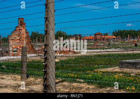 View to Birkenau Commandant's Office and housing for SS man, Poland - Stock Photo