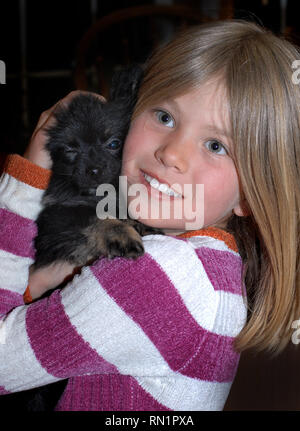 Who is loving on who?  Pomeranian winks he thinks he knows.  Young girl cuddles her Pomeranian puppy against her cheek. - Stock Photo