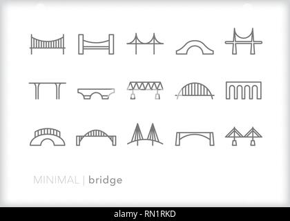 Set of 15 gray bridge line icons showing different types of transportation to cross the street or travel from one place to another - Stock Photo