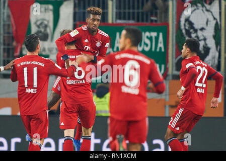 Augsburg, Germany. 16th February 2019. Kingsley COMAN, FCB 29 celebrates his goal for  , happy, laugh, celebration, 2-2 FC AUGSBURG - FC BAYERN MUNICH  - DFL REGULATIONS PROHIBIT ANY USE OF PHOTOGRAPHS as IMAGE SEQUENCES and/or QUASI-VIDEO -  1.German Soccer League , Augsburg, February 15, 2019  Season 2018/2019, matchday 23, FCB, München, Bavaria © Peter Schatz / Alamy Live News - Stock Photo