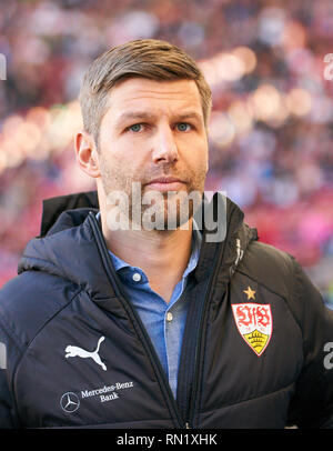 Thomas HITZLSPERGER, VFB Sportdirektor, Manager, sportlicher Leiter,  half-size, portrait,  VFB STUTTGART - RB LEIPZIG  - DFL REGULATIONS PROHIBIT ANY USE OF PHOTOGRAPHS as IMAGE SEQUENCES and/or QUASI-VIDEO -  DFL 1.German Soccer League , Stuttgart, February 16, 2018,  Season 2018/2019, matchday 23, shows red card to Bull,  © Peter Schatz / Alamy Live News - Stock Photo
