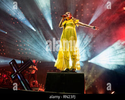 Glasgow, Scotland, UK. 16th February, 2019. Glasgow Synth Pop band Chvrches perform at the SSE Hydro. Credit: Stuart Westwood/Alamy Live News - Stock Photo