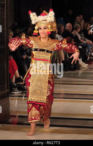 London, UK. 16th Feb 2019. A female model on the catwalk at the 'Indonesia Fashion Council' Catwalk Show Autumn Winter 2019. Leading Indonesian fashion and textile designers showcase latest collections at London Fashion Week at the Freemasons Hall. Credit: SOPA Images Limited/Alamy Live News - Stock Photo