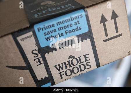 Vancouver, British Columbia, Canada. 16th Feb, 2019. A label on a package from Amazon touts the benefits of being an Amazon Prime member and shopping at Whole Foods Market. Credit: Bayne Stanley/ZUMA Wire/Alamy Live News - Stock Photo