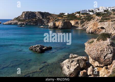 Karpathos island, the coastline of Amopi beach. Aegean sea, Dodecanese Islands, Greece - Stock Photo