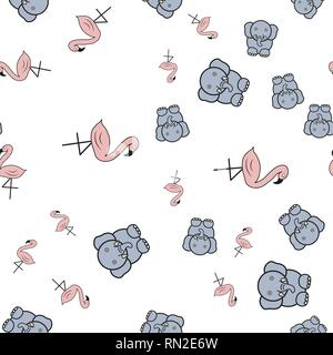 Seamless pattern from flamingos and elephants in in cartoon style. On white background, vector illustration. - Stock Photo
